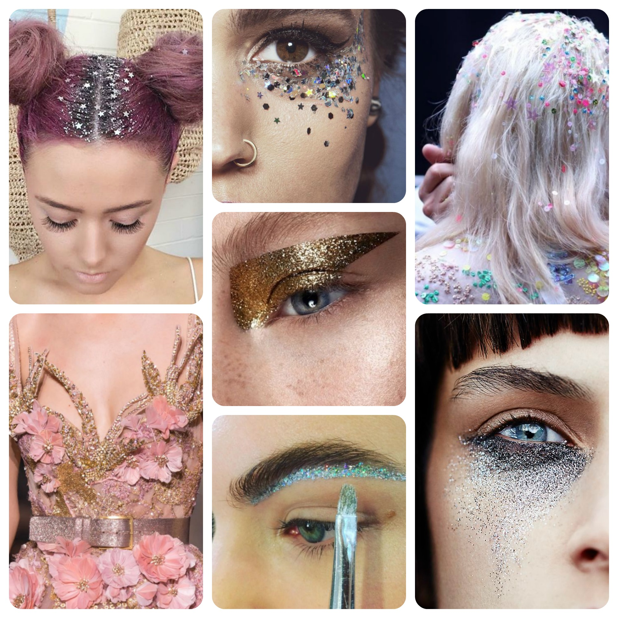 runway glitter collage